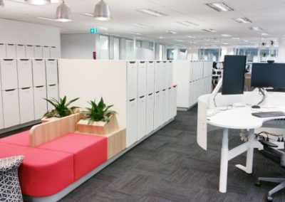 white lockers in office