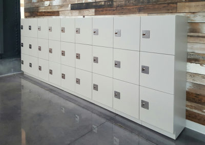 wall lined with lockers